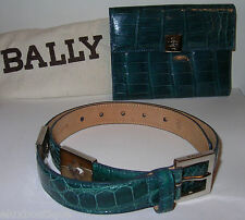 BALLY Italy Alligator Crocodile BELT 75 /30 Silver Blue NEW $2600+ Bag GIFT IDEA