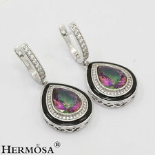 75% OFF Teardrop Mystic Fire Topaz 925K Sterling Silver Turkish Jewelry Earrings