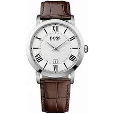 Hugo Boss Black Mens Brown Leather Strap Date Watch 1513136