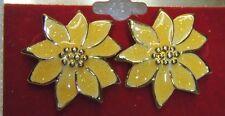 Gold Colored POINSETTIA Flower Earrings - Enameled W/ Gold Glitter - Pierced