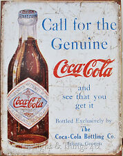 Call For The Genuine Coca Cola TIN SIGN vtg coke bottle ad metal wall decor 1918
