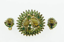 Large Juliana Book Set Olivine Green Brooch Earrings Rhinestones & Art Glass