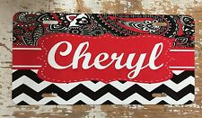 Paisley Chevron Personalized Monogrammed License Plate Car Tag Initials Custom