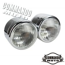 """Chrome 4"""" Twin Headlight Lamp Motorcycle Double Dual Naked Dominator+Sportbike"""