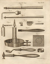 1797 GEORGIAN PRINT ~ BLOW PIPE ~ VARIOUS EQUIPMENT APPARATUS