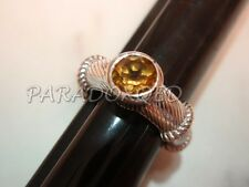 JUDITH RIPKA Sterling Silver 925 Round-Cut Citrine Stackable Rope Ring Sz 5