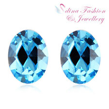925 Sterling Silver Swarovski Crystal Oval Cut Simple Aquamarine Stud Earrings