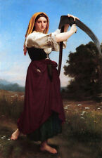 Huge Oil painting Bouguereau - The Reaper Female portrait Young woman canvas 36""