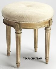 ROUND FRENCH CREAM WOOD VANITY STOOL ~ BEDROOM OTTOMAN CHAIR PAINTED FURNITURE