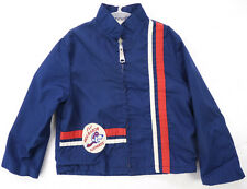 SNOOPY Red Baron Patch Peanuts Vintage 70s Blue Canvas Stripe Track Jacket 4/5 S