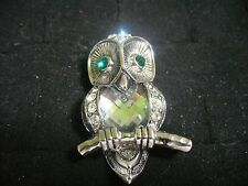 Vintage Silvertone Metal Green Crystal Eye Clear Crystal Belly Owl Brooch Pin