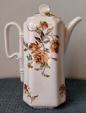 """Haviland & Co. ~ Limoges ~ 9⅞"""" CHOCOLATE POT with LID ~ Hand Painted Gold Floral"""