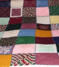 """Vintage Handmade Crocheted Afghan Patchwork Blanket 80"""" x 55"""" Twin Bed Size"""
