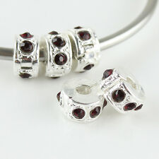 10PCS Czech Crystal Rhinestone Silver European Charm Beads Locks Clip Stoppers