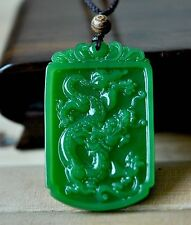 good Chinese Rich Green Natural Hand-Carved HeTian Jade Dragon pendant