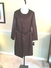 "Axcess Chocolate Brown ""Satin"" Feel Cotton Blend Collarless Coat NWT! Size 16"