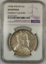 1904-B Straits Settlements $1 Dollar Silver Coin NGC AU Details Harshly Clnd (B)