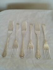 LOVELY SET OF 6 SILVER PLATED DESSERT FORKS (KINGS PATTERN) 7.25""