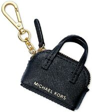New michael Kors Cindy Key Fob Charm Coin saffiano leather top zipper black Gold