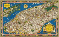 MAP OF MANHATTAN 1926 Vintage New York City Art Deco CANVAS ART PRINT 36x24 in.