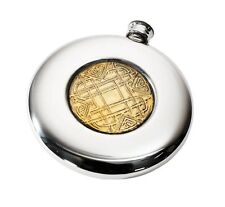 4oz Celtic Gold Slim Sporran Pewter Hip Flask Made by Wentworth of Sheffield