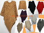 Women's Poncho Batwing Cape Style Knit Top Cardigan V-NECK Sweater Coat Outwear