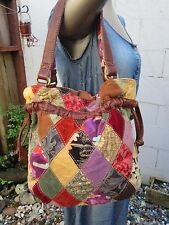 LUCKY BRAND PATCHWORK HOBO DRAWSTRING BAG PURSE TOTE HANDBAG SATCHEL