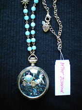 Betsey Johnson PRINCESS CHARMING Carriage Necklace Horse Clock NWT