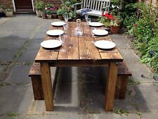 Dining Table/kitchen Table Reclaimed Pine Wood/timber With 2 Bench Seats Set
