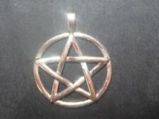 LARGE SILVER DOMED 35MM PAGAN PENTAGRAM WICCAN 5 POINTED STAR  PENDANT NECKLACE