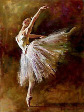 Stunning Oil painting portrait beautiful young girl ballet Ballerina dancing
