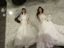 LOT OF 2 BARBIE DOLLS WEDDING DAY AND custom gown