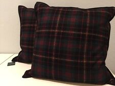 Set of 2 Ralph Lauren Black Green Red Yellow Plaid Decorative Throw Pillows