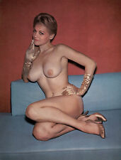 1960s Nude Pinup Posing on couch Gold gloves & Gold pumps 8 x 8 Photographs