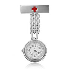 New Pro Silver Stainless Steel Doctor Brooch Fob Quartz Cross Nurse Pocket Watch
