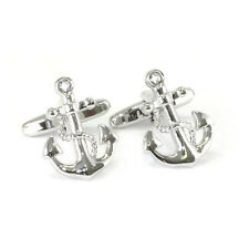 Silver Coloured Traditional Anchor & Rope Cufflinks nautical New & Boxed AJ217
