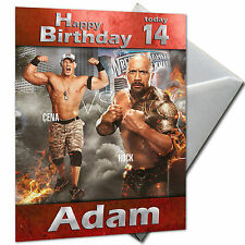 WWE, CENA, ROCK, WRESTLING - PERSONALISED  Birthday Card Large A5
