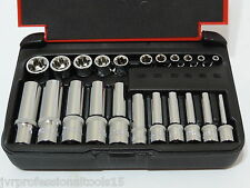 "22-PC 1/4"" & 1/8"" DR. Female TORX Socket Set Star Socet E4-E10 E11-E18 Sockets"