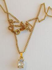collier pendentif rétro couleur or avec un solitaire oxyde diamant 3243