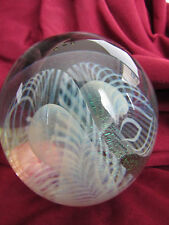 Vintage Eickholt Art Glass paperweight with pulled feather design
