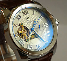 Beautiful Tourbillon Automatic Complication GMT Polished Steel Dress Wrist Watch