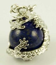 *UNUSUAL LAPIS LAZULI BALL PENDANT WITH COILED DRAGON & WAXED CORD NECKLACE*