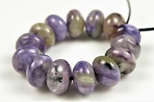 Russian Charoite Smooth Rondelle Beads - 8mm x 5mm - 14 beads - 4628A