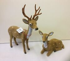 Par Nuevo Imitación Piel De Reno 21cm Stag & Doe sentado decoración de Navidad