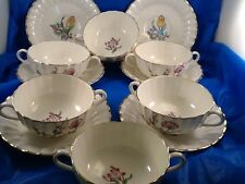 ROYAL WORCESTER INDIAN SPRAYS set of 6 cream soup bowl & saucers MADE IN ENGLAND