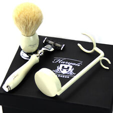 Complete Wet Shaving Set, Includes Gillette Mach 3 Razor, Badger Brush, Stand