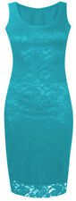 New Womens Plus Size Lace Floral Sleeveless Bodycon Long Midi Dress 8-22