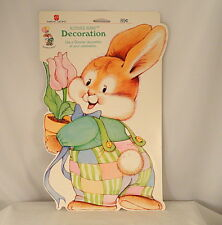 Vtg American Greetings Bloomer Bunny Rabbit Die Cut Cardboard Easter Decoration