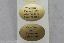 50 Custom Printed Gold Oval Wedding Favour Oval Stickers 38x26mm Any Black Text