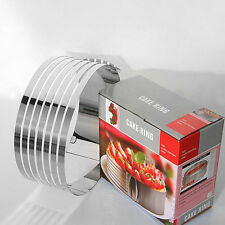"""8"""" Adjustable Stainless Steel Round Mousse Cake Ring Layer Slicer Cutter Mold"""